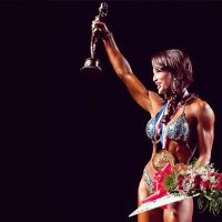 IFBB Pro and bodybuilder Erin Stern winning the Arnold Classic