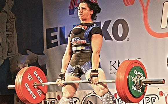 World famous powerlifter Priscilla Ribic pulling a successful deadlift of 530 lbs.