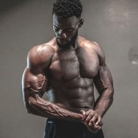 male athlete flexing muscles